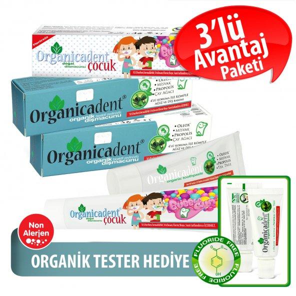 Organicadent Florürsüz Doğal Çocuk Diş Macunu 50ml + Organik 75ml x2