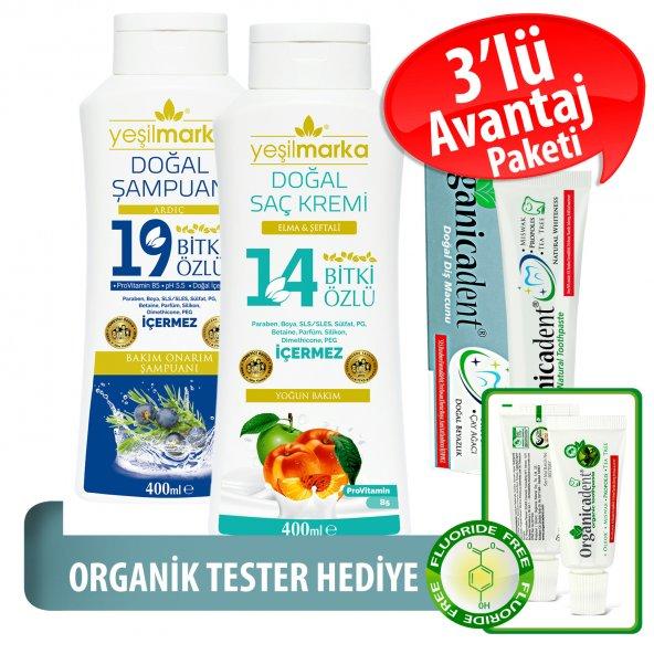 Organicadent Florürsüz Doğal Diş Macunu 75 ml 19+14Bitki Özlü Doğal Şampuan ve Saç Kremi Hediye