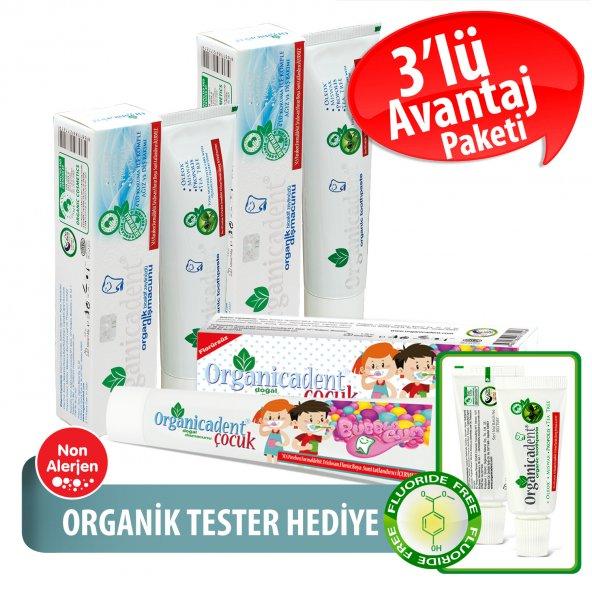 Organicadent Florürsüz Doğal Çocuk Diş Macunu 50ml + Organik 100ml+50ml