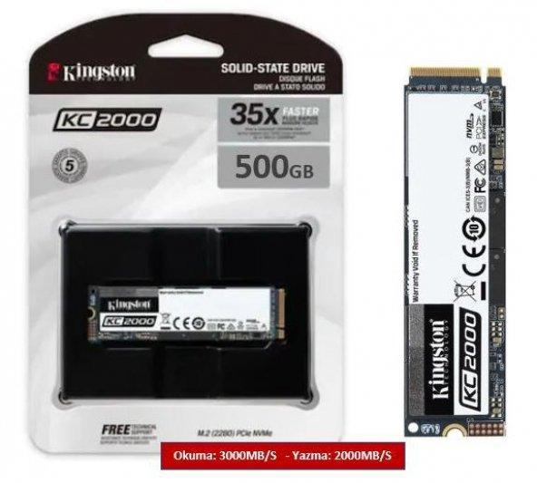 Kingston KC2000 500GB 3000/2000MB/S NVMe M.2 2280 PCIe SSD (SKC2000M8/500G)