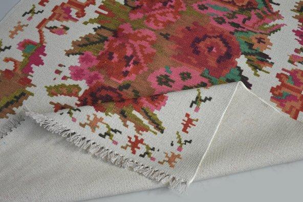 Çift Taraflı Çiçek Desenli Beyaz Yıkanabilir İnce Kilim - HS81009