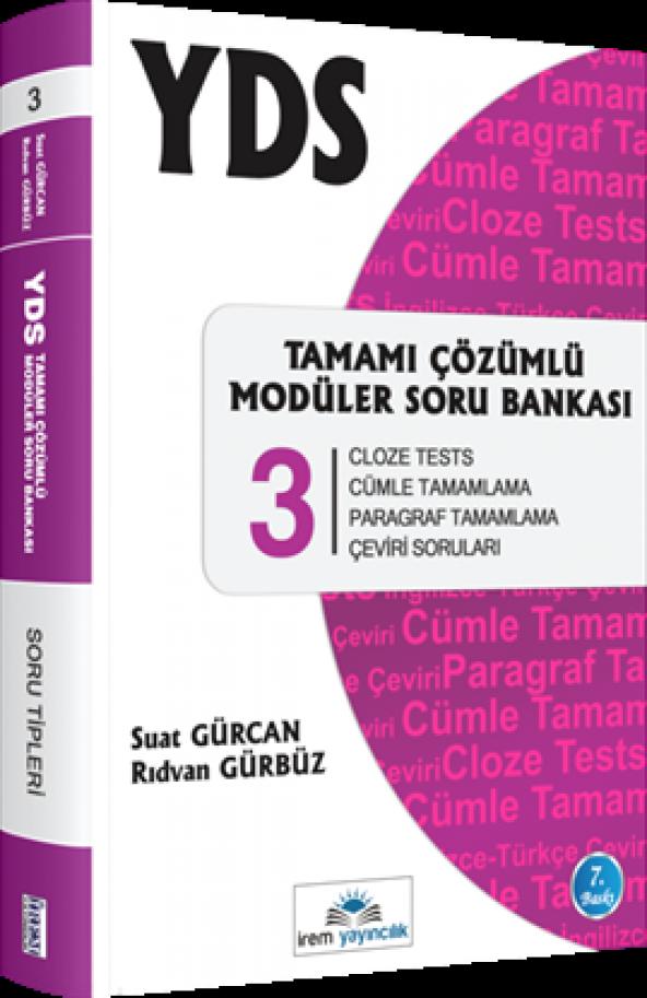 İrem Yayıncılık YDS Tamamı Çözümlü Modüler Soru Bankası 3 Cloze Tests