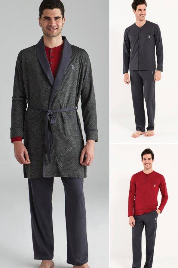 U.S POLO Erkek Antrasit Çeyizlik 5li Robdeşambırlı Pijama Takımı