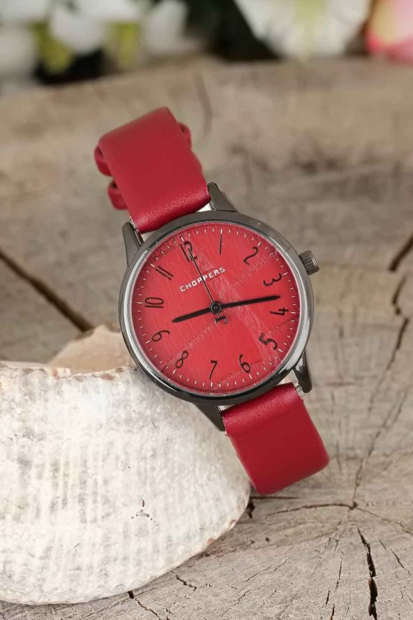 Füme Renk Metal Kasa Bordo İç Tasarımlı Bordo Renk  Deri Kordonlu Bayan Saat