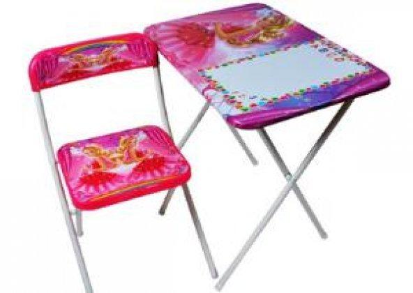 Katlanır Çalışma Masası ve Sandalye Pembe