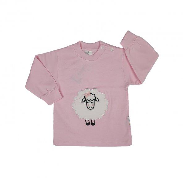 Kız Bebek Kuzu Desenli Uzun Kollu Badi 0-9 Ay Pembe - C71923