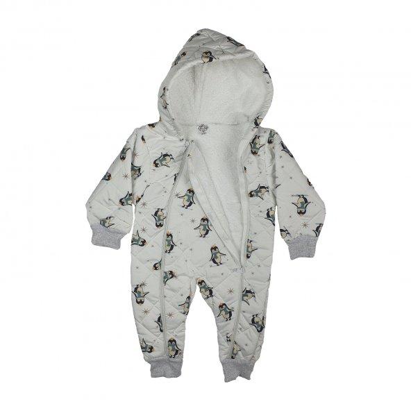 Kız Bebek Fermuarlı Penguen Modelli Kışlık Tulum Beyaz 1-3 Yaş - C71787-2