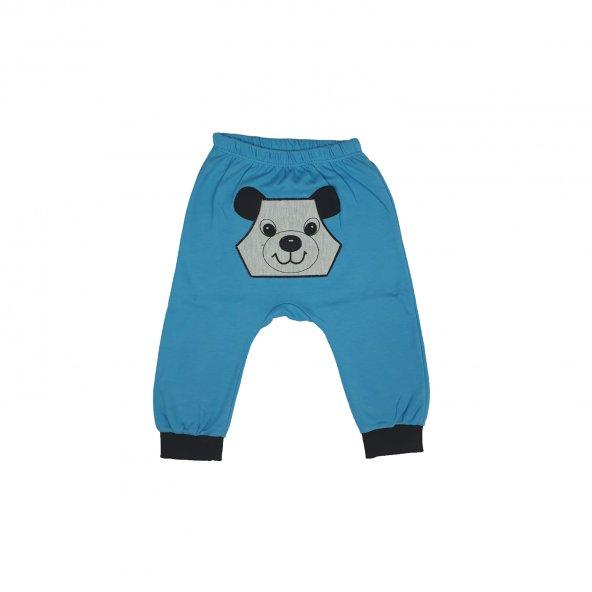 Erkek Bebek Panda Desenli Tek Alt 0-18 Ay Mavi - C70838-1