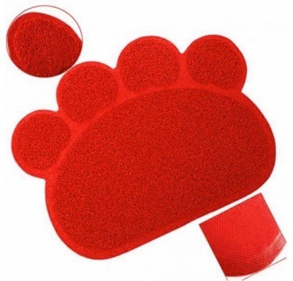 Ans Kedi Tuvalet Önü Paspası Pati Şekilli Kırmızı 38-57 cm