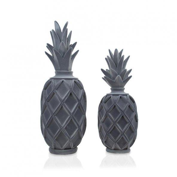 Süet Ananas Füme Dekoratif Biblo Çiftli Set