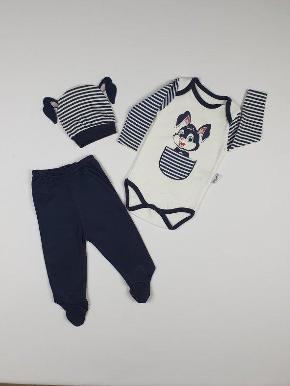Kız - Erkek Bebek Şapkalı Tavşanlı 3lü Takım 3-6 Ay Lacivert - C68599