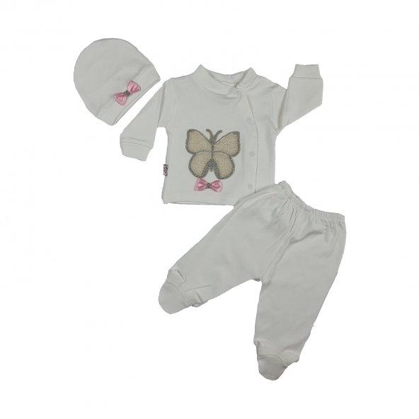 Kız Bebek İncili Kelebek Modelli Taşlı 2li Takım Pembe Yenidoğan - C71980