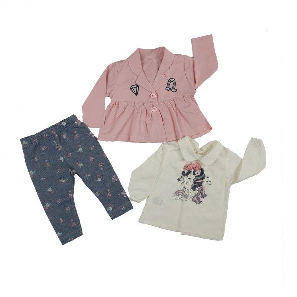Kız Bebek Modelli Ceketli 3lü Takım Pembe - C73599