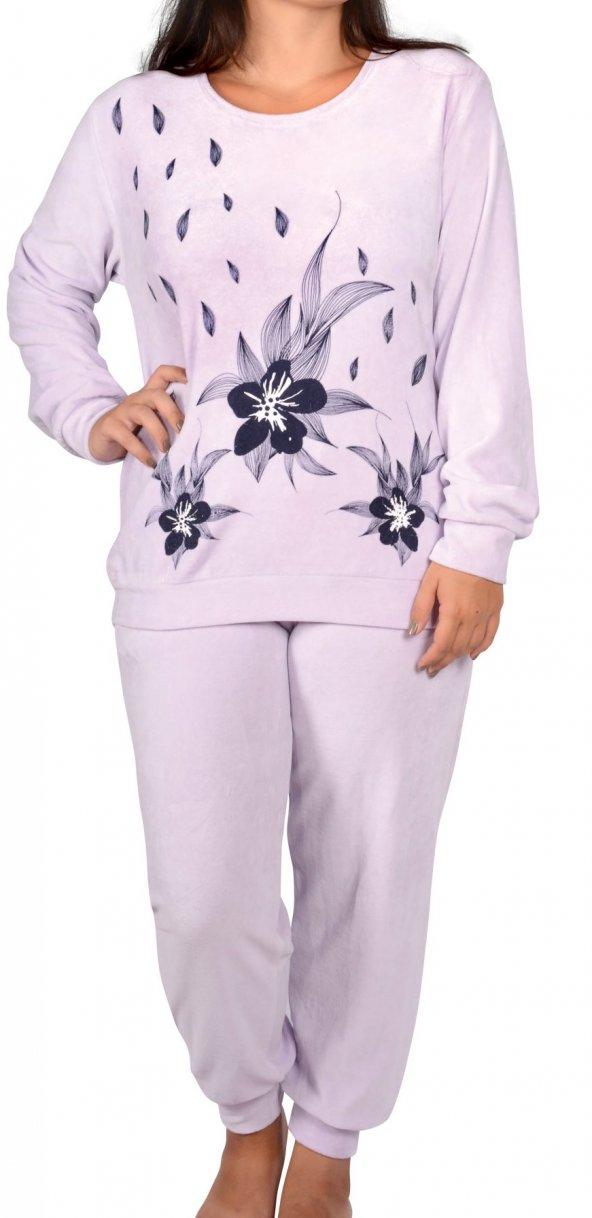 Kadın Pijama Takımı Kadife Büyük Beden