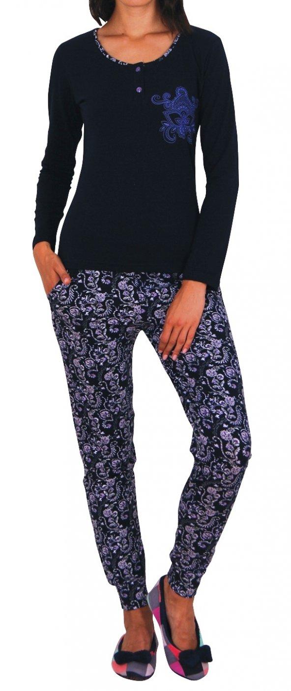 Kadın Pijama Takımı Uzun Kollu Cepli Pamuk