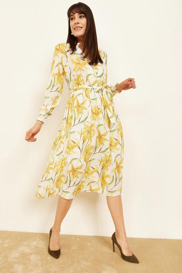 Kadın Sarı Desenli Midi Boy Elbise