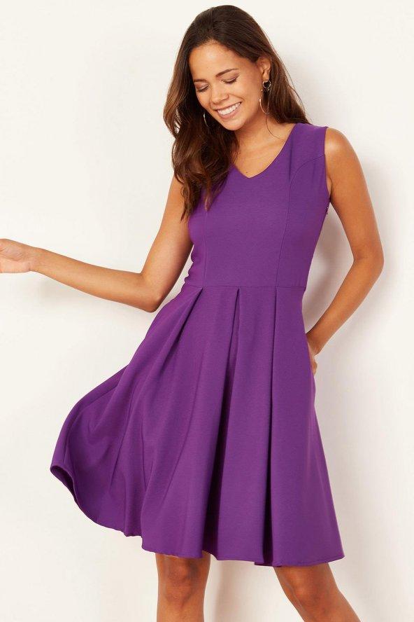 Kadın Mor Pileli Kloş Elbise