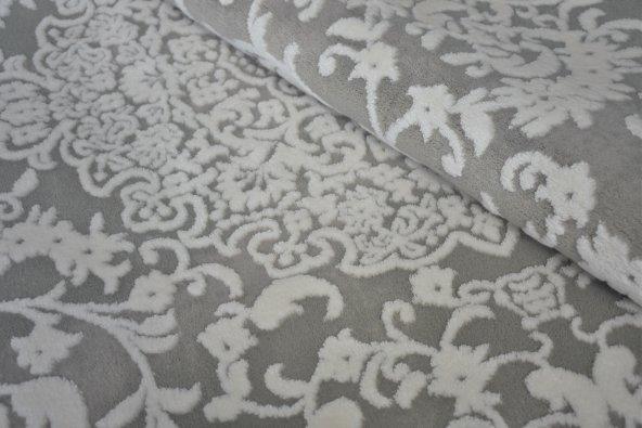 Gri Klasik Desen Bordürlü Salon Halısı - HS97073T
