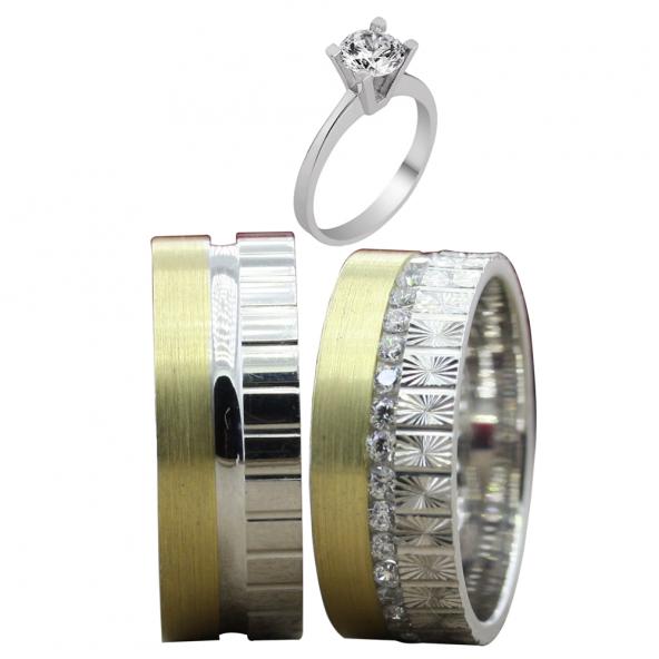 Taşlı Gümüş Çift Alyans Yüzük Tek Taş Hediyeli DN5142