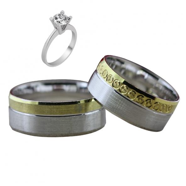 Taşsız Gümüş Çift Alyans Yüzük Tek Taş Hediyeli DN5393