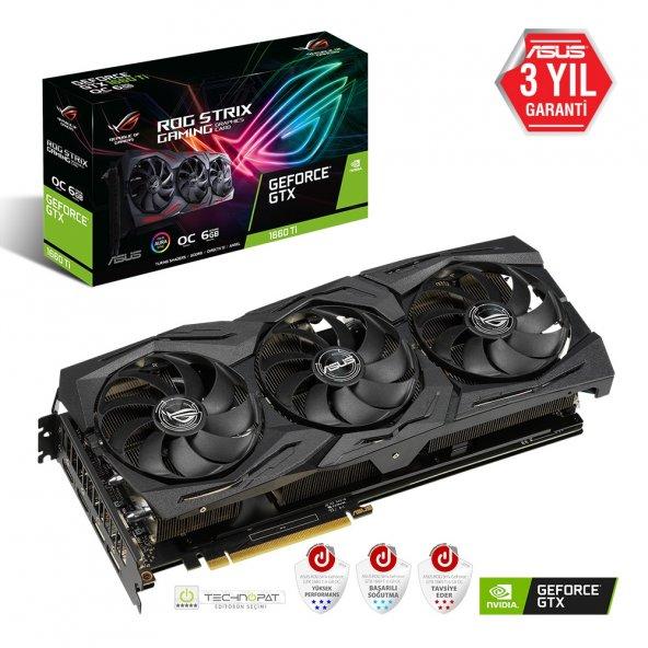 Asus ROG-Strix-GTX1660TI-O6G-Gaming GeForce GTX 1660 Ti 6GB GDDR6 192Bit DX12 Gaming Ekran Kartı