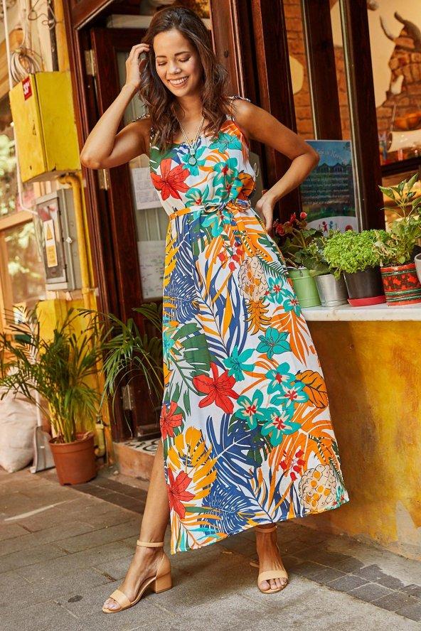 Kadın Turuncu İp Askılı Desenli Uzun Elbise