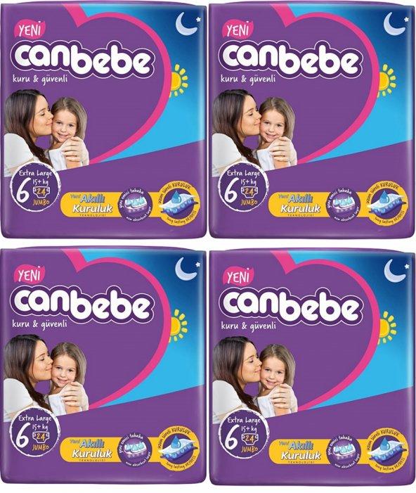 Canbebe Extra Large 6 Numara 24*4=96 Adet Bebek Bezi 15+ kg