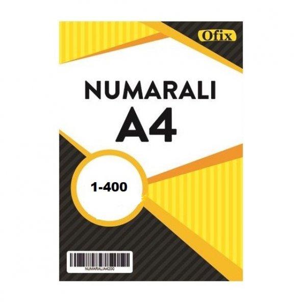 Numaralı A4 Kağıt 80 Gr Dikey 1-400 Sayfa