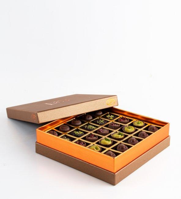 Liva Bronz Taba Dolgulu Çikolata Kutu Küçük