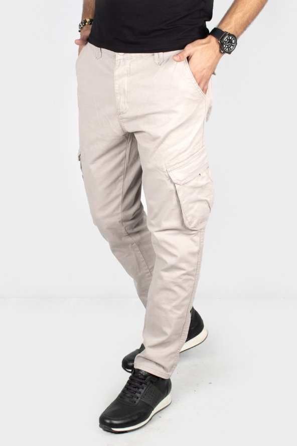 DeepSEA Taş Önü Fermuarlı Yan Cepler ÇıtÇıtlı Dar Paça Kargo Pantolon 1901587