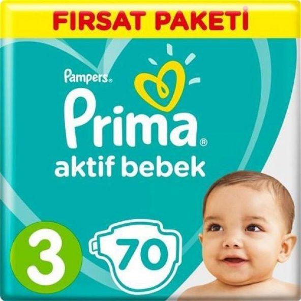 Prima Aktif Bebek Bezi 3 Numara 70 Adet Fırsat Paketi