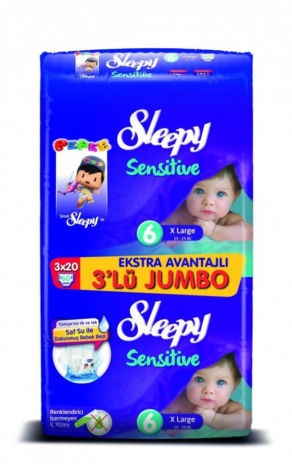 Sleepy 6 Numara 60 Adet 3 lü Jumbo Paket Bebek Bezi Avantaj Paket