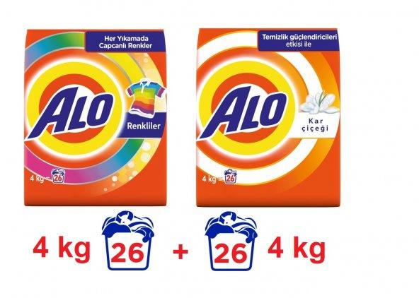 ALO Matik Toz Çamaşır Deterjanı Renkli Beyaz 4 kg 26 Yıkama x2
