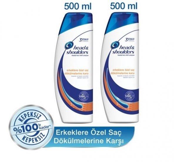 HEAD SHOULDERS Erkeklere Saç Dökülmelerine Kepek Şampuan 500ml x2