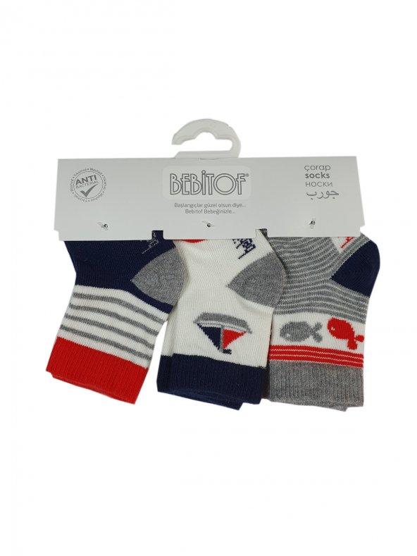 Erkek Bebek Kokulu Çorap 0-3 Ay Lacivert- C71114