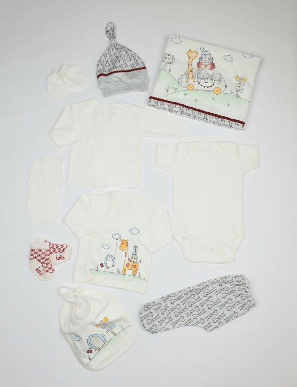 Erkek Bebek Sevimli Zürafa Modelli Hastane Çıkış Seti 0-1 Ay Beyaz - C72537-4