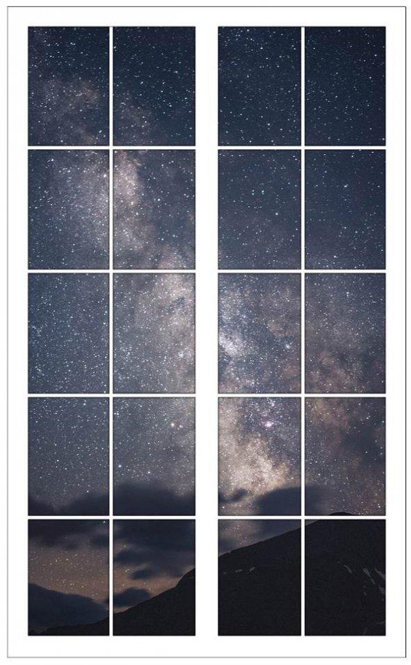 Pencere, Yıldızlı Gökyüzü, Gece Duvar Sticker
