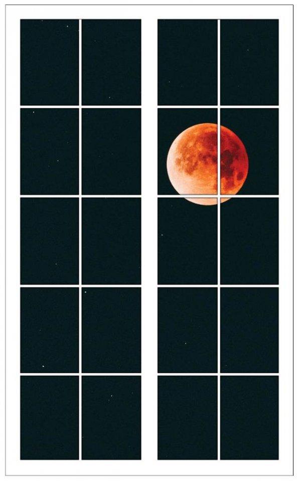 Pencere, Dolunay, Yıldızlı Gece Duvar Sticker