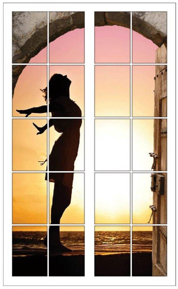 Pencere, Kız Silueti, Gün Batımı Duvar Sticker