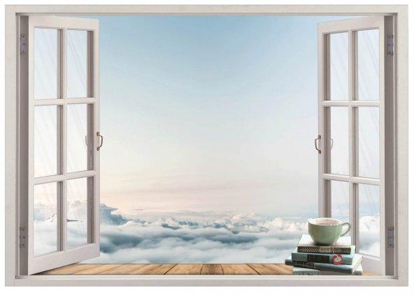 Pencere, Bulutlar, Gökyüzü Duvar Sticker
