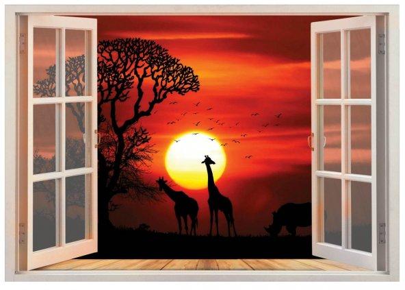 Pencere, Gün Batımı, Zürafa Duvar Sticker