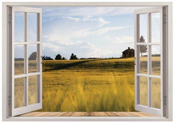 Pencere, Kırsal Manzarası Duvar Sticker