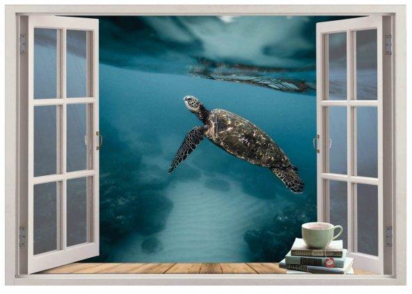 Pencere, Deniz Kaplumbağası Duvar Sticker