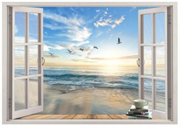 Pencere, Martılari Deniz Kıyısı, Kumsal Duvar Sticker