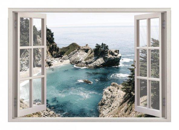 Pencere, Deniz Manzarası Duvar Sticker