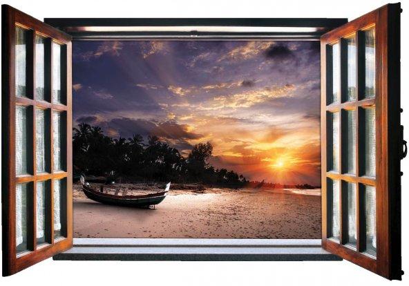 Pencere, Gün Batımı, Tekne, Sahil Duvar Sticker