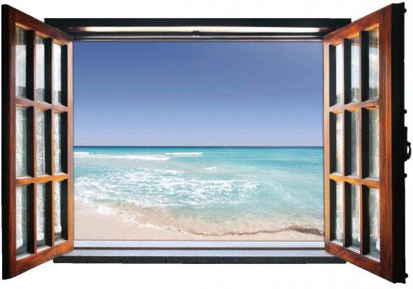 Pencere, Sahil, Deniz Duvar Sticker