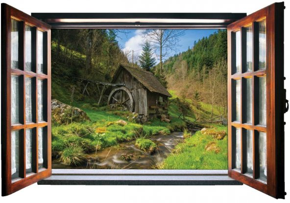 Pencere, Değirmen, Nehir, Su Duvar Sticker