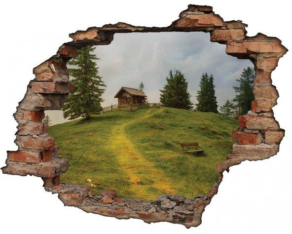 Kırık Tuğla, Ev, Doğa, Yeşil Duvar Sticker
