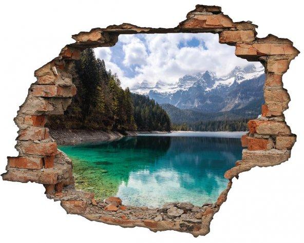 Kırık Tuğla, Göl, Ağaçlar Duvar Sticker